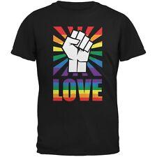 LGBT Gay Pride LOVE Raised Fist Black Adult T-Shirt