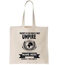 Umpire Personalised Tote Bag Shopper Thanks Amend Birthday Gift Cricket Tennis