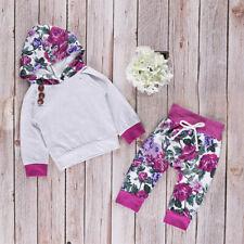 Baby Mädchen Kleidung Outfit Set Blumen Langarm Kapuzenpullover Haremshose Neu