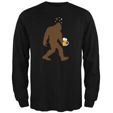 Drunk Sasquatch Black Adult Long Sleeve T-Shirt