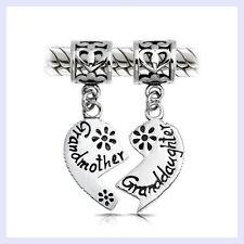 STR Silver Granddaughter Grandmother Love Dangle Bead f/ European Charm Bracelet