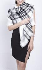 Gil Design: übergrosser rechteckiger Schal Halstuch Stola weiss/grau/schwarz