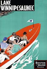 Lake Winnipesaukee - Boston Maine Railway Travel Vacation A3 Art Poster Print