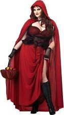 Sexy Seductive Dark Red Riding Hood & Cloak Fairy Tale Costume Adult Womens Plus