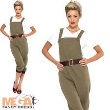Land Girl Ladies Fancy Dress 1940s 30s British History Womens Adult Costume New