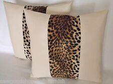 """2 Cream Faux Leather Velboa Fur Leopard Stripe Cushion Covers 16"""" 18"""" 20"""""""