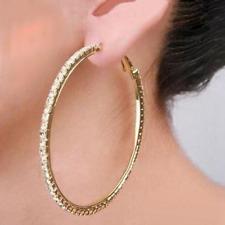 Ohrringe Creolen Strass Ohrhänger Strasscreolen gold -farbig Größen Auswahl