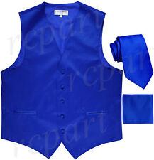 Neuf pour Homme Bleu Roi Habillé Gilet Smoking _ Cravate & Mouchoir Set Mariage