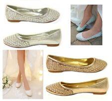 WOMENS BRIDAL DIAMANTE WEDDING LADIES SPARKLY SLIP ON BRIDESMAID SHOES PUMPS