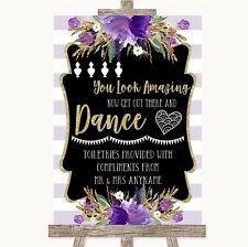 Gold & Purple Stripes Toiletries Comfort Basket Personalised Wedding Sign