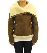 Ladies Brown / Tan Shearling Sheepskin Side Zip Biker Jacket with Large Collar