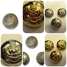 Latón, plata, botones de vástago Militar Antiguo 25 mm Botones £ 2.99 para 5 Botones