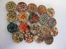 8 piezas Paquetes 15mm Estampado Botones De Madera Para Costura,
