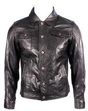 'trucker' denim neuf homme ciré noir napa souple véritable western en cuir rock veste