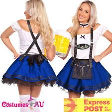 Ladies Blue Beer Maid Wench Costume Oktoberfest German Fancy Dress Halloween