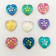 Hot ! 30PCS 12mm AB Resin heart flower Flat back Wedding buttons Child craft DIY