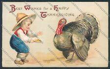 Clapsaddle Ellen Thanksgiving postcard cartolina B6937 SZG