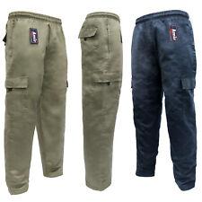 Men's Plain Cargo Work Trouser Thermal Fleece Lined Zip Pocket Pants M-2XL