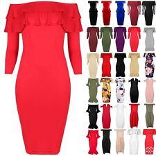 Womens Ladies Peplum Frill Off The Shoulder Sleeveless Bardot Bodycon Midi Dress