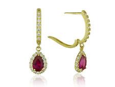 14k Yellow Gold Halo CZ Tear Drop Dangle Leverback Earrings