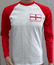Come On England Flag Football Rugby Supporter Fan Long Sleeve Baseball Tee Shirt