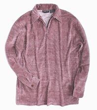 Turning Point Mens S  NWOT - Retro Inspired Burgundy Red Zip Collar Velour Shirt