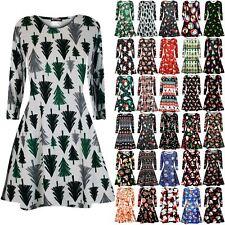 Womens Snowflack Gift Tree Flare Print Dresses Ladies Christmas Swing Mini Dress
