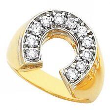 Men's Gold Stainless Steel Gold GP cz Ring lucky Good Luck horseshoe Ring