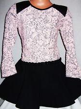 Filles Lumière Noire Rose Floral Matelassé Similicuir Trim Skater robe de soirée