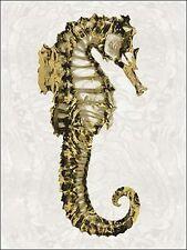 Melanie Miller: Golden Seahorse II Keilrahmen-Bild Leinwand Seepferdchen maritim