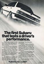 1985 Subaru RX Turbo - Tests - Classic Vintage Advertisement Ad D141