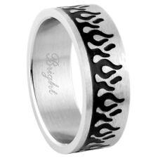 Men Women 8MM Stainless Steel Matte Finish Flame Design Ring Wedding Band