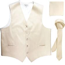 "New Men's Ivory vest Tuxedo Waistcoat_1.5"" necktie & hankie set wedding"