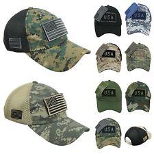 US FLAG Baseball Cap Military Army USA Flag Detachable Camo Trucker Mesh Hat