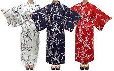 Women's Casual Cotton Yukata Robe Ume Uguisu #943 Geisha Dress Unlined