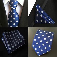 New Classic Polka Dot Blue White Mens Tie Suit Necktie Silk woven Tie Kerchief