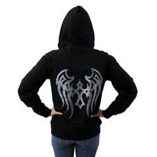 Black Zipper Hoodie Sweatshirt with Metallic Silver Tribal Cross and Wings