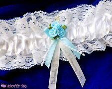 Personalised Ivory White Wedding Garter Handmade Lingerie Bride Flowers Blue Hen