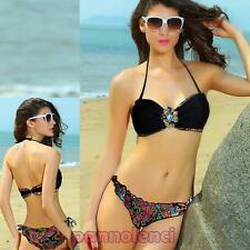 Bikini donna costume mare gioiello fascia due pezzi moda mare NUOVO DL-1005