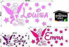 Tinkerbell Personalised girls bedroom wall  Art Vinyl Sticker Decal stars disney