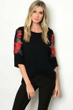 Black Floral Sleeve Jersey Top