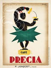 REPRO DECO AFFICHE CAFE PRECIA JONQUET TULLE SUR PAPIER 310 OU 190 GRS
