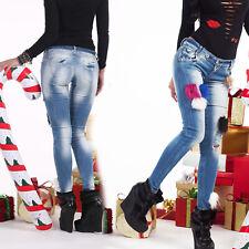 FOGGI Damenjeans Jeans Damenhose Röhrenjeans Crashlook Hüftjeans 34-38 #F178