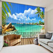 Deck Balcony Sunny Beach 3D Blockout Photo Printing Curtains Draps Fabric Window