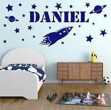 ROCKET Wall Sticker Personalised Name Boys Bedroom Space Vinyl Art Decal AD126