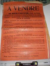 Affiche publicité enchére  commune de la Charrière Belleville  Prissé an 1927