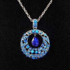 XXL Anhänger Strass Rund Halskette Kristall Blau Lila Grau