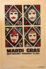 "RARE AFFICHE LITHO ""MARDI GRAS NEW ORLEANS FEBRUARY 12, 1991"""