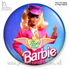 "BARBIE ""Flight Time Barbie"" ~ Pin Badge or Fridge Magnet [45mm] Retro Toys"
