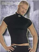 Markantes Shirt / Top mit Leder-Halsband schwarz